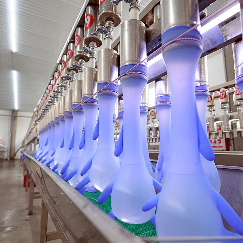 Sampling inspection of nitrile-butadiene gloves in production line